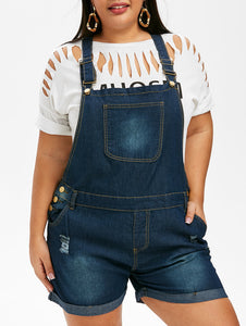 Plus Size Ripped Denim Jumpsuit Overalls With Pockets