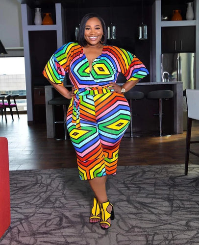 Plus Size V-Neck Half Sleeve Geometric Print With Sashes Calf-Length Jumpsuit