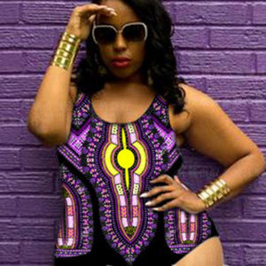 Plus Size One Piece African Print Swimsuit - kats closet1