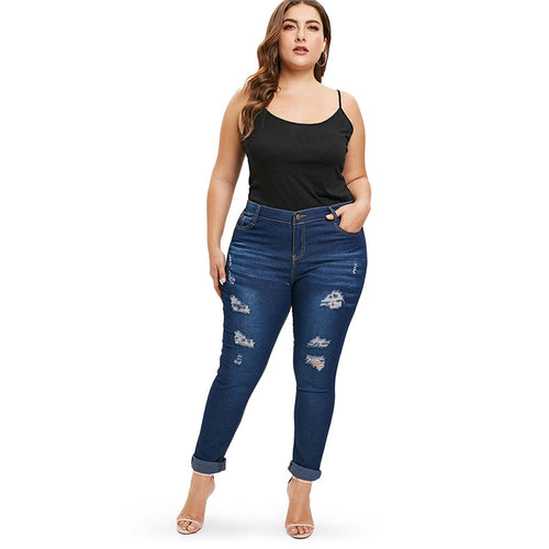 Plus Size High Waist Skinny Ripped Jeans - kats closet1