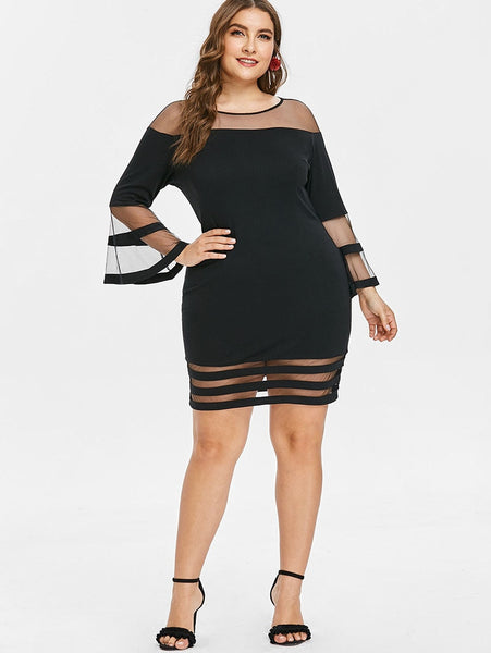 Plus Size 5XL XXXXL XXXL Bell Flare Sleeve Sexy Mesh Lace Dress