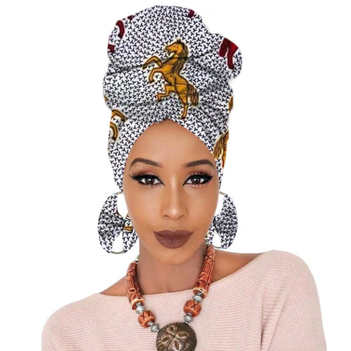 African Print  Headscarf With Earrings