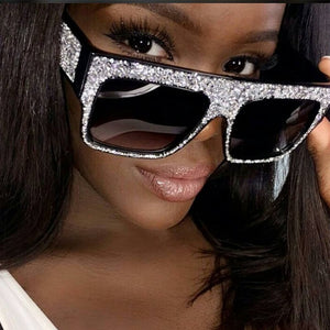Oversize Luxury Crystal Square Diamond  Sunglasses