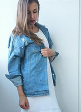 Load image into Gallery viewer, Pearls Beading Ripped Denim Jacket - kats closet1