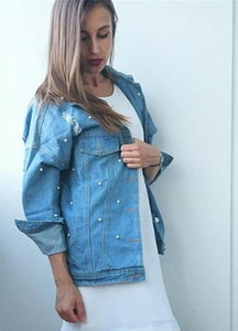 Pearls Beading Ripped Denim Jacket - kats closet1