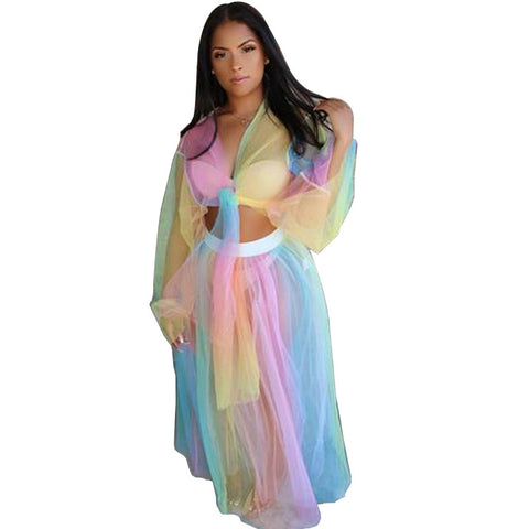 Rainbow Two Piece V Neck Flare Sleeve Crop Top+Mesh See Through Long Skirt