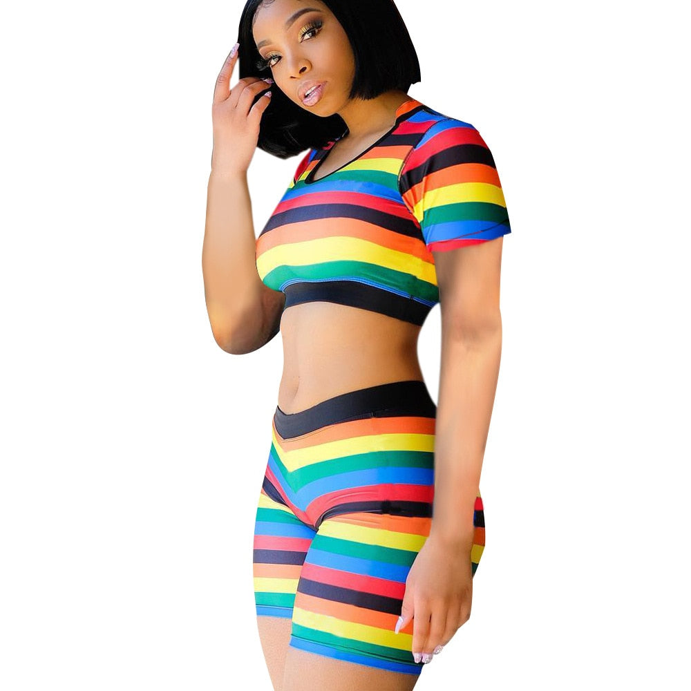 Rainbow Striped 2 Piece O Neck Short Sleeve Crop Top And  Biker Shorts Set