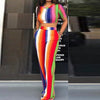 Rainbow Striped Two Piece Short Sleeve Crop Top + Wide Leg Pants Set