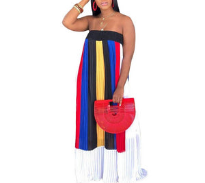 Rainbow Striped Off The Shoulder Backless Strapless Dress