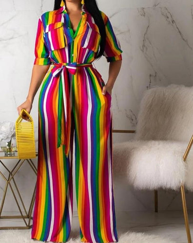 Rainbow Striped Long Turn-down Collar Short Sleeve Button Wide Leg Jumpsuit