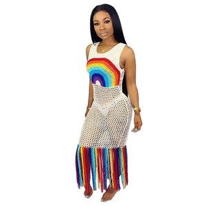 Rainbow Tassel Beach Boho See Through Sleeveless Dress
