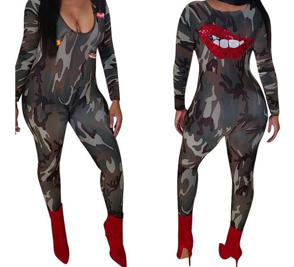 Red Lips Sequins V Neck Camouflage Print Jumpsuit