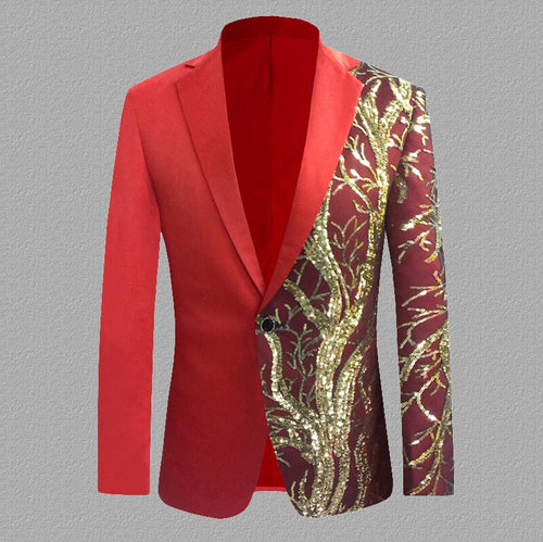 Red Shiny Glitter Sequin Blazer Single Button Men's Party Jacket
