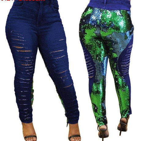 Sequined Demin Hip Hop Pencil Pants Skinny Jeans
