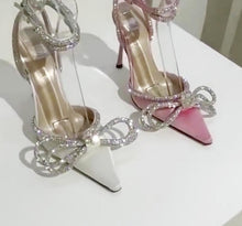 Load image into Gallery viewer, Rhinestones Bowknot Thin high heel Pink Satin Pointed Toe Stiletto