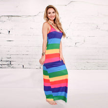 Load image into Gallery viewer, Casual Maxi Beach Rainbow Striped Sundresss - kats closet1