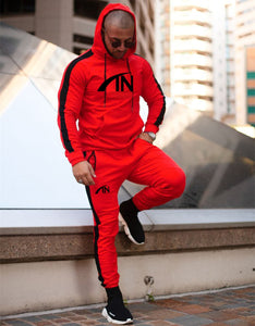 Men Running Sports Tracksuits Gym Fitness Hoodie Pants Sets
