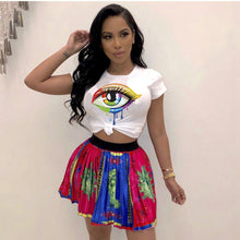 Load image into Gallery viewer, Beautiful Eye Print Cotton Knit Short Sleeve O-neck Short Shirt