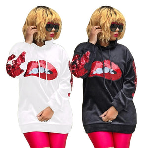 S-XXL Sequined Spliced Lips Casual Long Sleeve hoodie - kats closet1