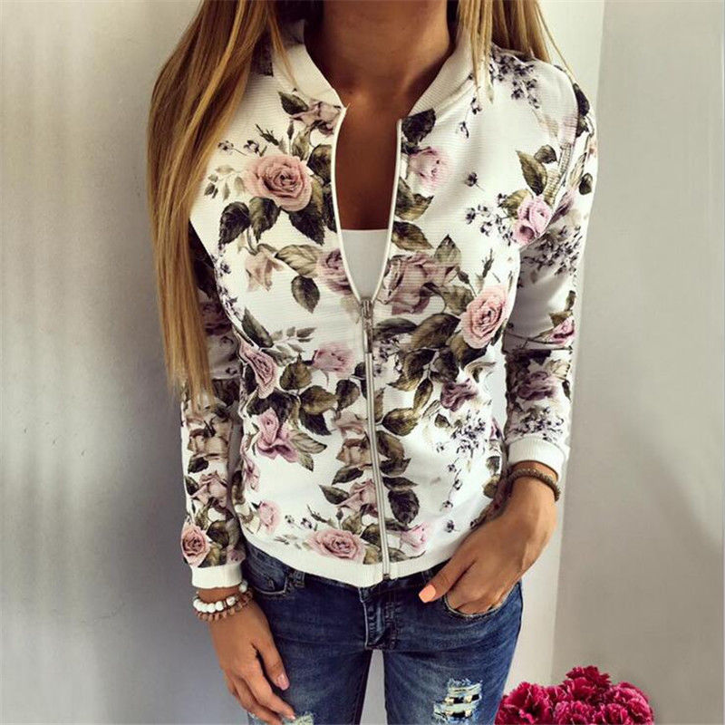 Women Ladies Biker Celebrity Camo Flower Floral Print Bomber Jacket Outwear Coat - kats closet1
