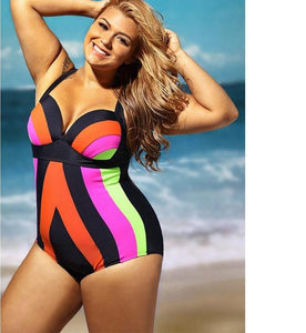 One Piece High Waist Plus Size Swimsuit - kats closet1