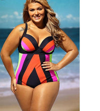 Load image into Gallery viewer, One Piece High Waist Plus Size Swimsuit - kats closet1