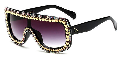 Crystal Decoration Shining Rhinestones Rim Sunglasses