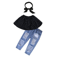 Load image into Gallery viewer, 3 Piece Sleeveless Dotted Top-Headband And Jeans Set - kats closet1