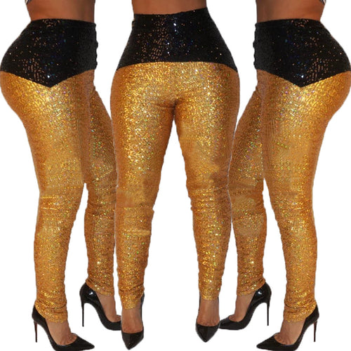 Black Gold Sequin Long Pants