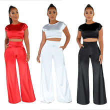 Load image into Gallery viewer, Satin 2 Piece Short Sleeve Crop Top And Wide Leg Long Pants Set