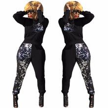 Load image into Gallery viewer, Sequined 2 Piece Long Sleeve Pullover Sweatshirt And Elastic Long Pants - kats closet1