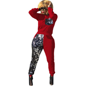 Sequined 2 Piece Long Sleeve Pullover Sweatshirt And Elastic Long Pants - kats closet1