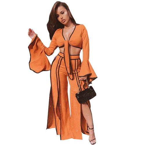 2 Piece Flare Sleeve Tie Front Crop Top and Split Wide Leg Pants Set - kats closet1