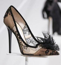 Load image into Gallery viewer, Black Lace Mesh High Heels - kats closet1