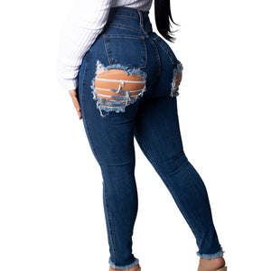 Sexy Butt Ripped Destroyed Back Hole Denim Jeans