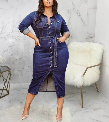Plus Size Turn-Down Collar Pockets Belt Long Denim Dresses