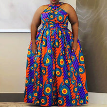 Load image into Gallery viewer, Plus Size African Print Geometric High Waist  Maxi Dress