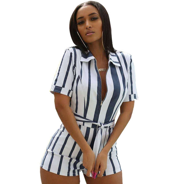 Striped Shorts Long Sleeve Turn-Down Collar Jumpsuit