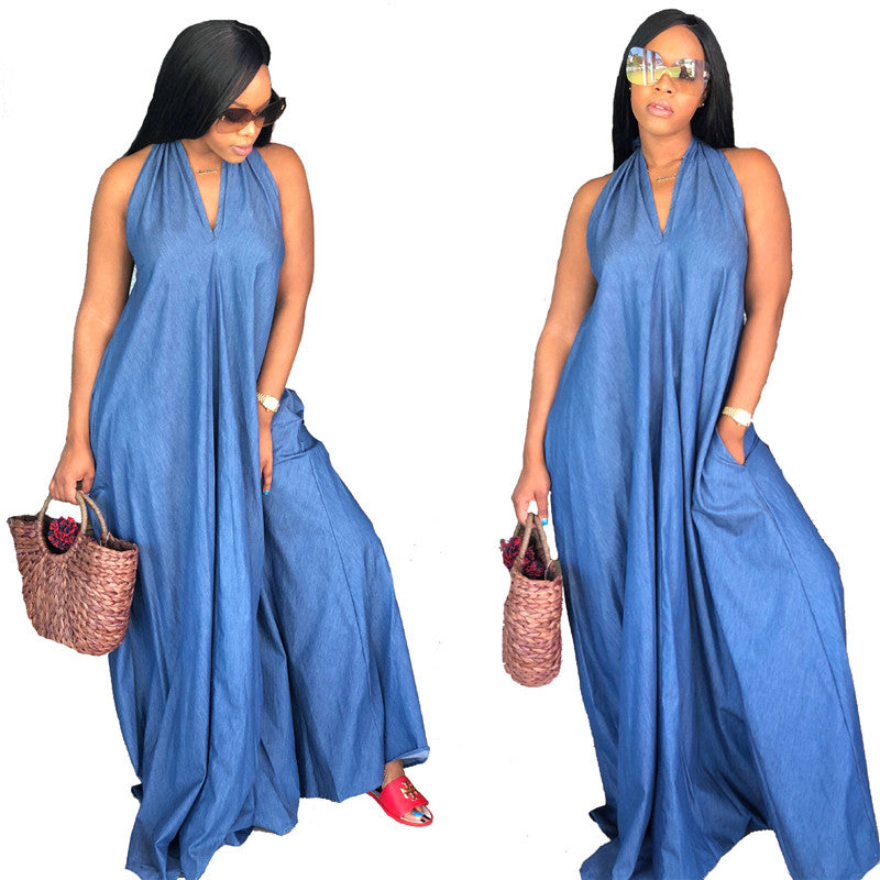 Halter Denim Plus Size Long Sleeveless V Neck Loose Maxi Dress