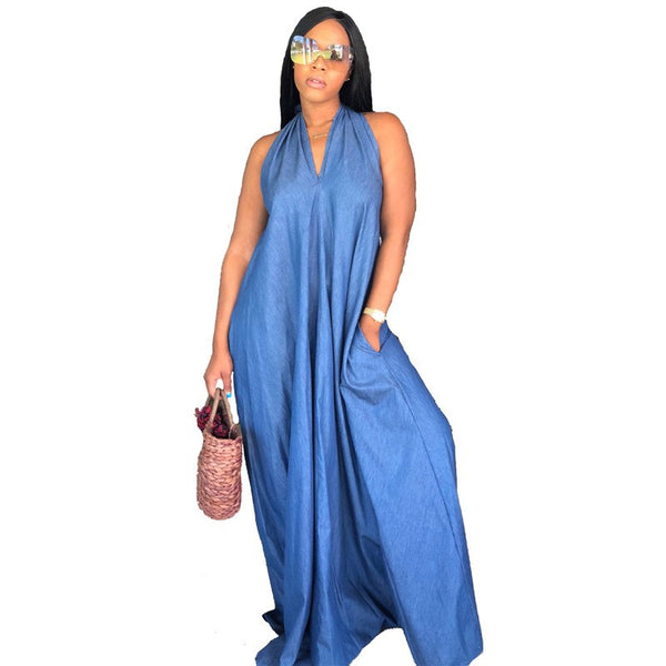 Halter Denim Plus Size Long Sleeveless V Neck Loose Maxi Dress - kats closet1