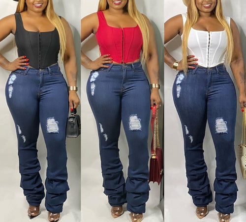 High Waist Holes Blue Skinny Denim Jeans