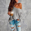 One Shoulder Knitted Slim Fit Pullover Long Sleeve Sweater