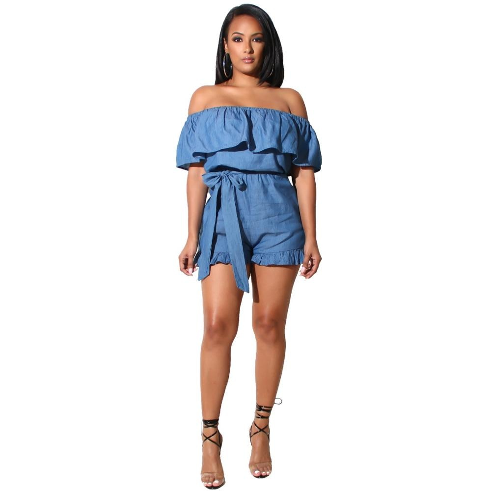 Sexy Short Jumpsuit Off Shoulder Skinny Rompers Women Jumpsuit Denim Ruffles Overalls For Women Playsuit J5030