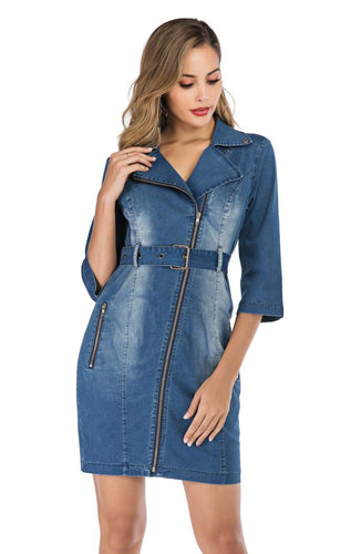 Denim Slim Elegant Button Dress