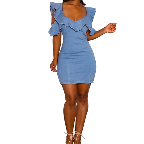 Blue Denim Cold Shoulder Slim Dress