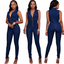 Load image into Gallery viewer, Halter Neck Sleeveless Backless Denim Jumpsuit - kats closet1