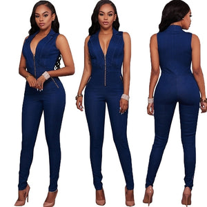 Halter Neck Sleeveless Backless Denim Jumpsuit