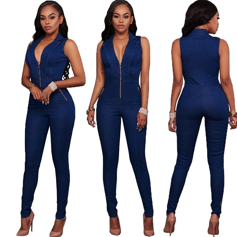 Halter Neck Sleeveless Backless Denim Jumpsuit - kats closet1