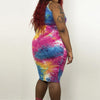 Plus Size Tie Dye Print Mini Sleeveless O-Neck Dress