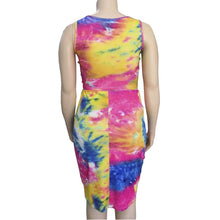 Load image into Gallery viewer, Plus Size Tie Dye Print Mini Sleeveless O-Neck Dress